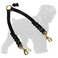 Braided Leather Russian Terrier Coupler for Walking 2 dogs