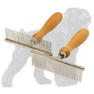 Easy Grooming Chrome Plated Russian Terrier Comb with Wooden Handle