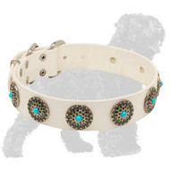 """Elegant Style"" White Leather Russian Terrier Collar with Nickel Circles and Blue Stones"