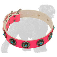 Stylish Pink Leather Russian Terrier Collar with Blue Stones
