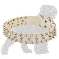 Stylish White Spiked Leather Russian Terrier Collar