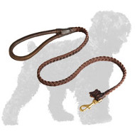 Braided Leather Russian Terrier Leash with Rounded Handle