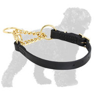 Reliable Leather Russian Terrier Martingale Collar with Brass Chain