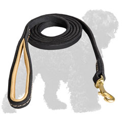 Soft Stitched Leather Black Russian Terrier Leash