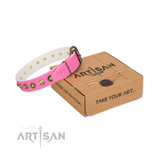Full grain natural leather collar with extraordinary studs for your pet