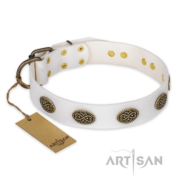 Stylish design leather dog collar with durable D-ring