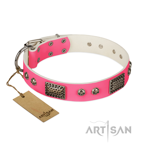 Easy adjustable leather dog collar for daily walking your doggie