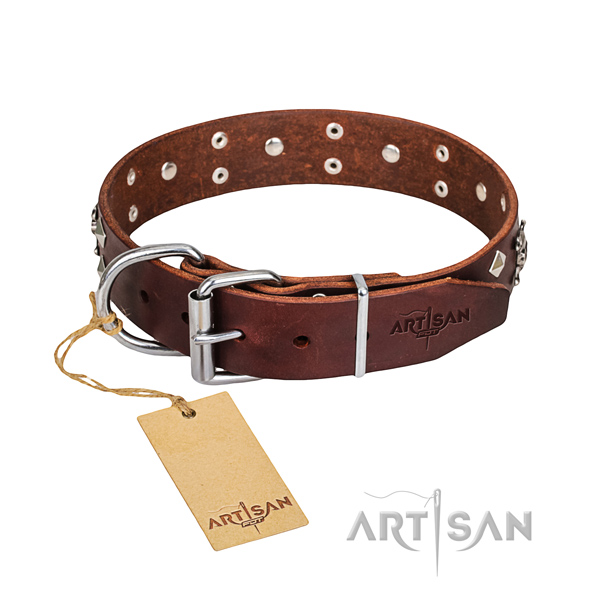 Handy use dog collar of fine quality full grain leather with studs