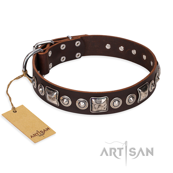 Leather dog collar made of quality material with corrosion proof fittings