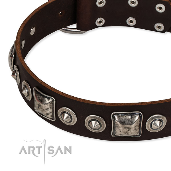 Genuine leather dog collar made of soft to touch material with embellishments