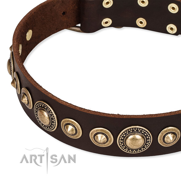 Gentle to touch genuine leather dog collar handcrafted for your stylish canine