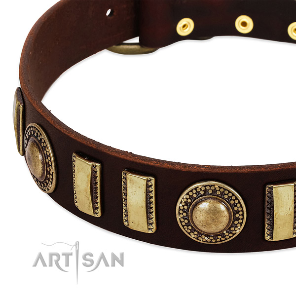 Soft to touch natural leather dog collar with strong buckle