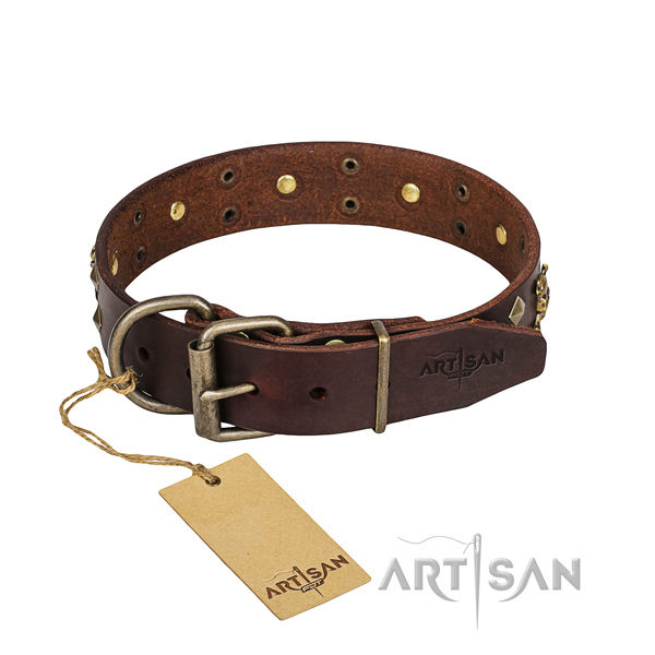 Basic training dog collar of top notch full grain natural leather with embellishments