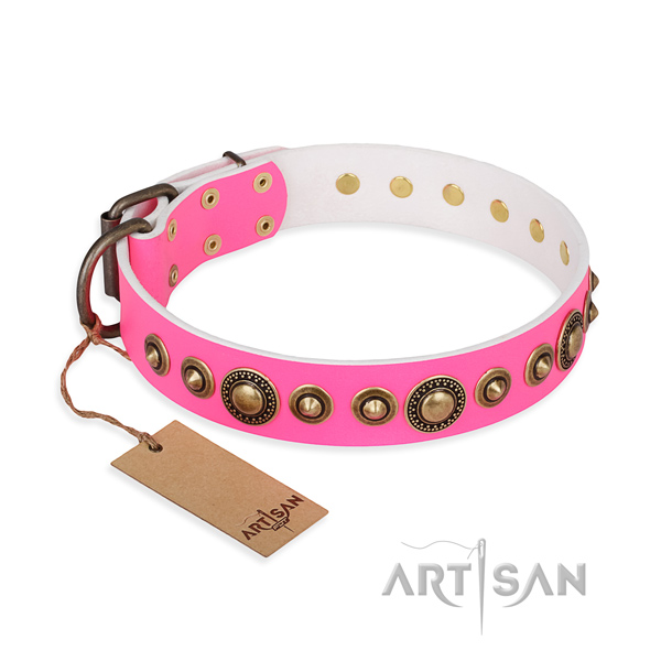 Soft to touch full grain leather collar crafted for your doggie