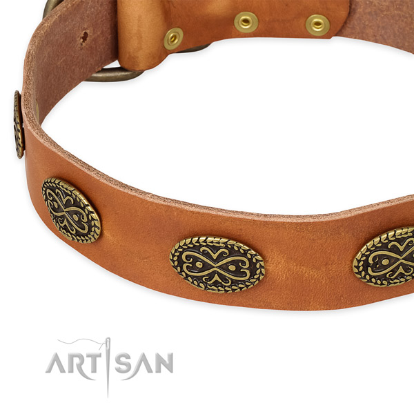 Stylish design genuine leather collar for your stylish doggie
