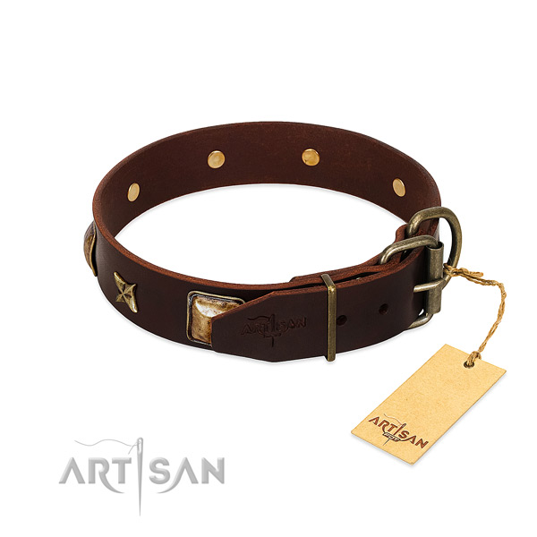 Natural genuine leather dog collar with reliable D-ring and decorations