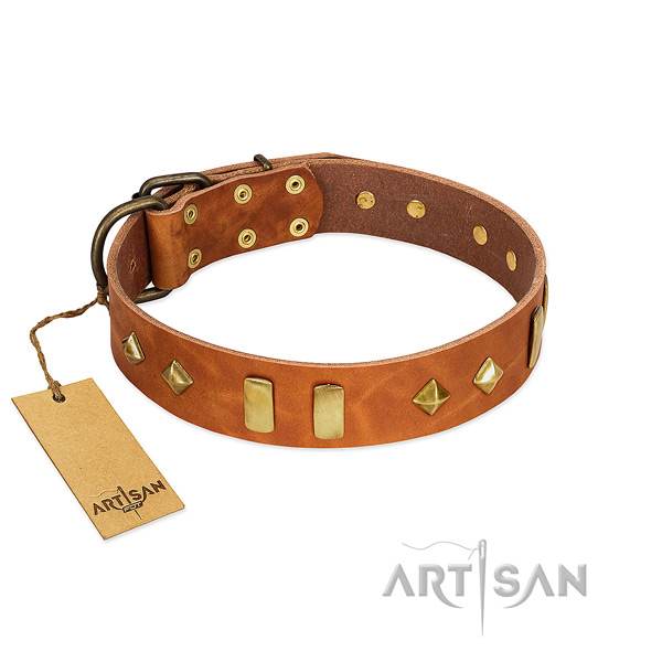 Daily use soft to touch genuine leather dog collar with adornments