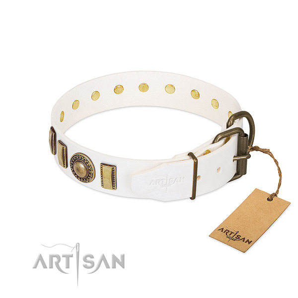 Reliable full grain genuine leather dog collar handmade for your four-legged friend
