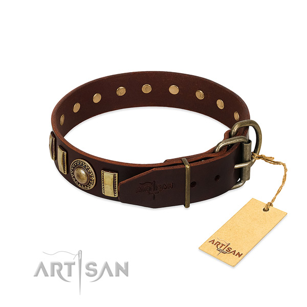 Fine quality full grain leather dog collar with rust resistant hardware