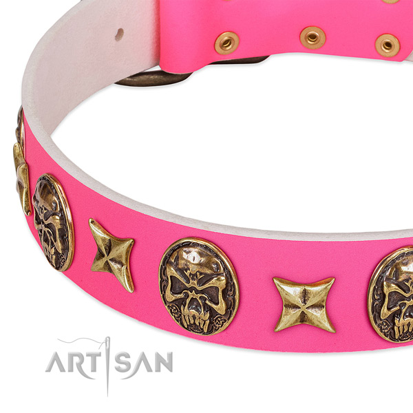 Full grain natural leather dog collar with top notch studs