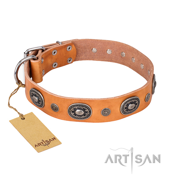 Durable full grain leather collar created for your doggie