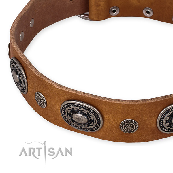 High quality natural genuine leather dog collar crafted for your impressive doggie