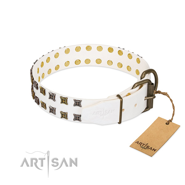 Natural leather collar with exquisite decorations for your pet