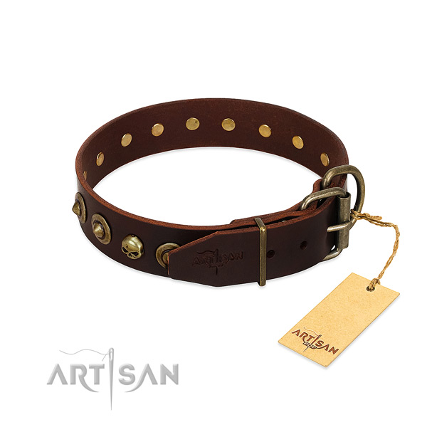 Full grain natural leather collar with awesome studs for your pet