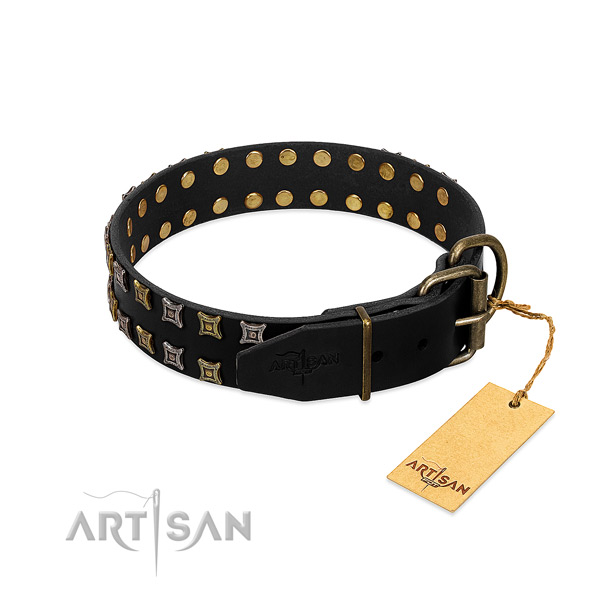 Soft genuine leather dog collar created for your canine