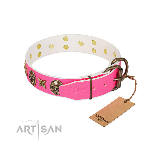Corrosion resistant hardware on full grain genuine leather collar for everyday walking your four-legged friend