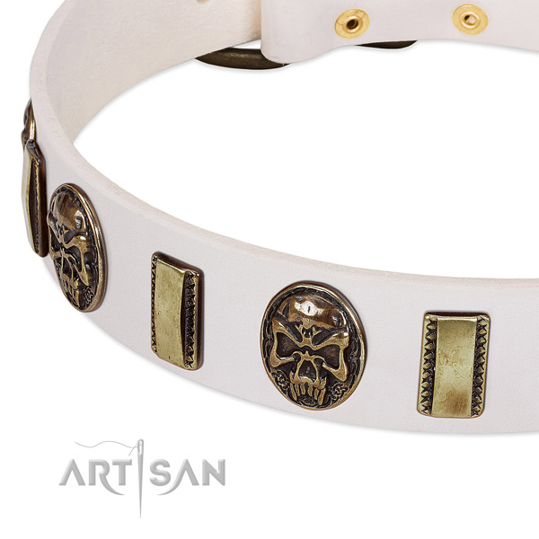 Durable decorations on full grain natural leather dog collar for your doggie