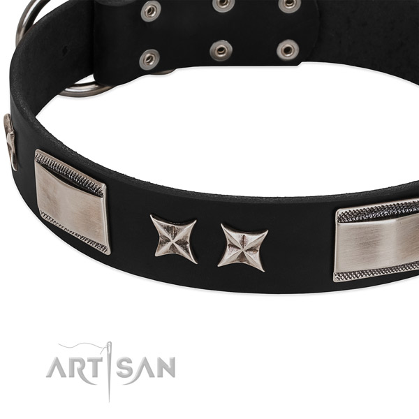 Best quality full grain genuine leather dog collar with durable fittings