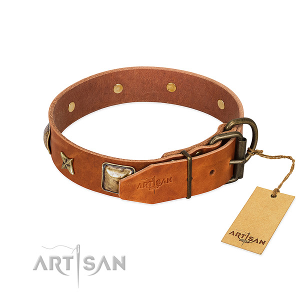 Full grain leather dog collar with reliable D-ring and adornments