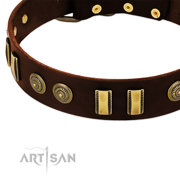 Durable D-ring on genuine leather dog collar for your canine