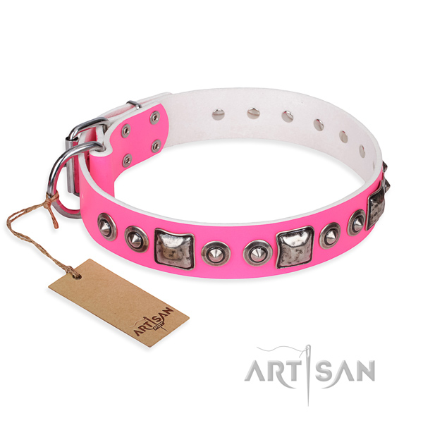 Full grain natural leather dog collar made of gentle to touch material with strong hardware