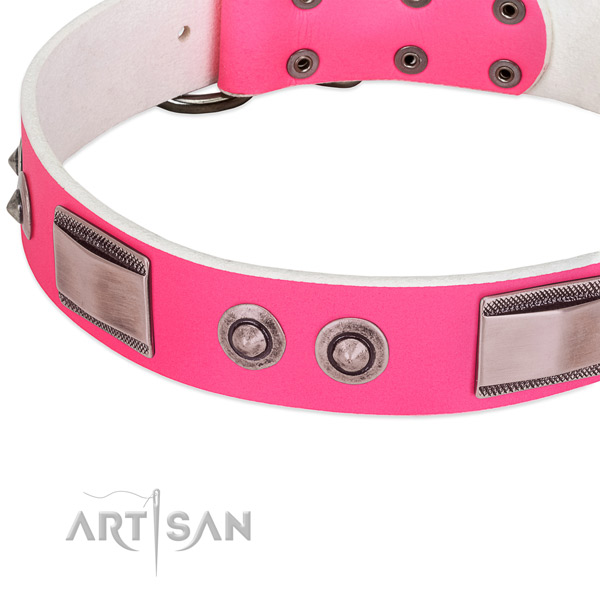Easy adjustable genuine leather collar with studs for your canine
