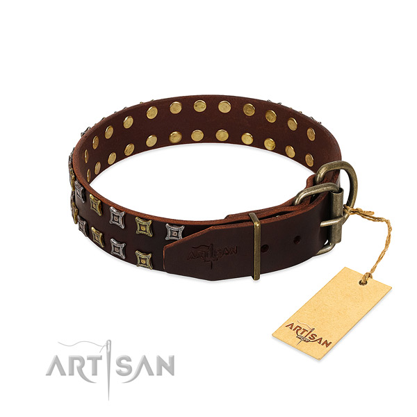 Reliable leather dog collar handmade for your four-legged friend