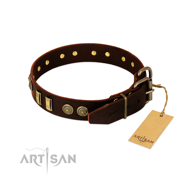 Durable traditional buckle on natural leather dog collar for your canine