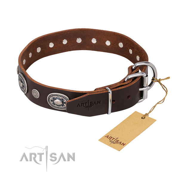 Gentle to touch leather dog collar made for daily walking