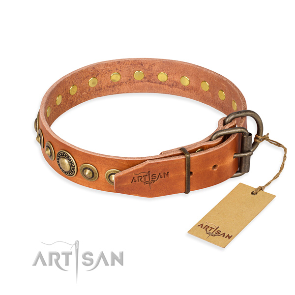 Reliable leather dog collar handcrafted for daily walking