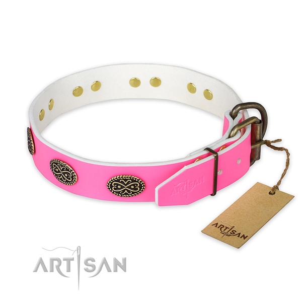 Rust resistant fittings on everyday use dog collar