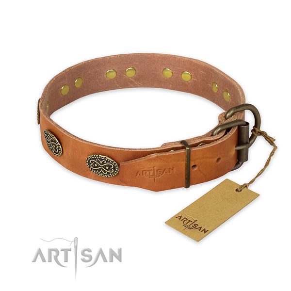 Corrosion resistant traditional buckle on full grain natural leather collar for your stylish doggie