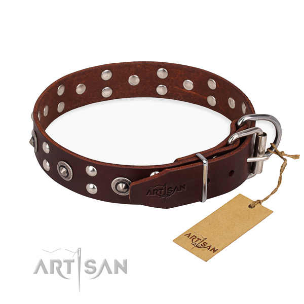 Rust-proof fittings on full grain natural leather collar for your beautiful doggie