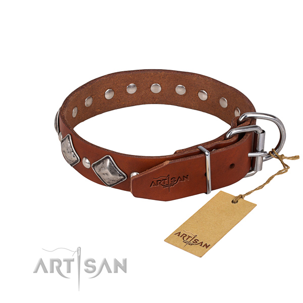 Everyday use studded dog collar of top notch genuine leather