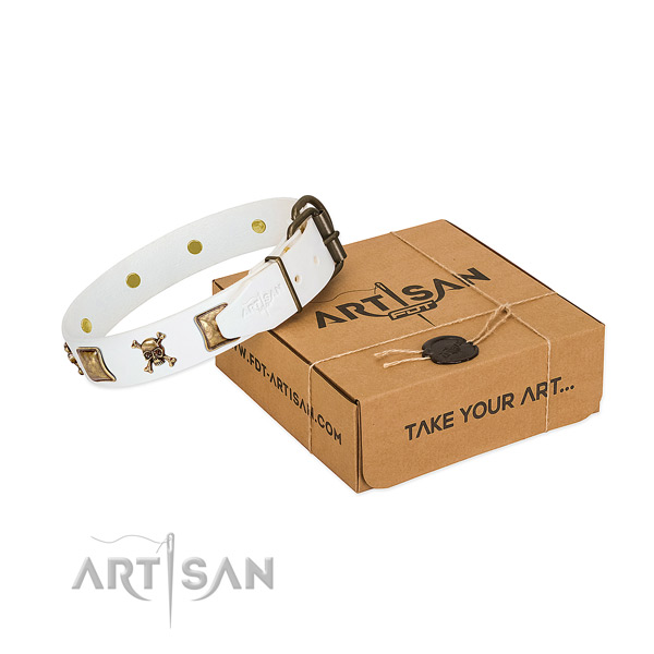 Daily walking high quality full grain genuine leather dog collar with studs