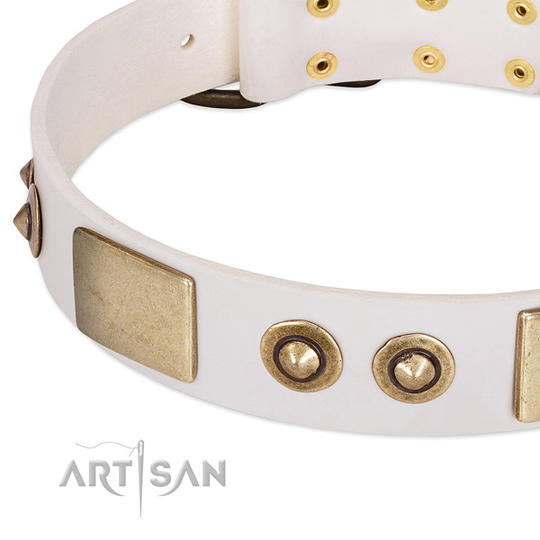 Corrosion resistant D-ring on full grain genuine leather dog collar for your pet
