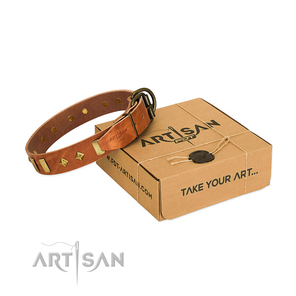 Gentle to touch full grain natural leather dog collar with rust-proof buckle