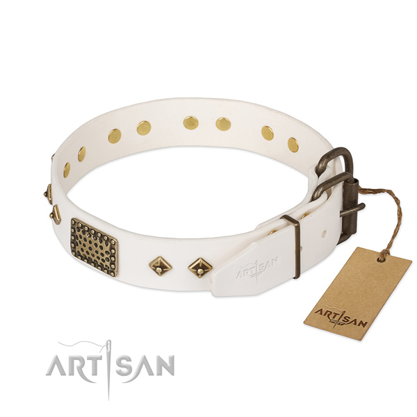 Full grain genuine leather dog collar with strong buckle and embellishments