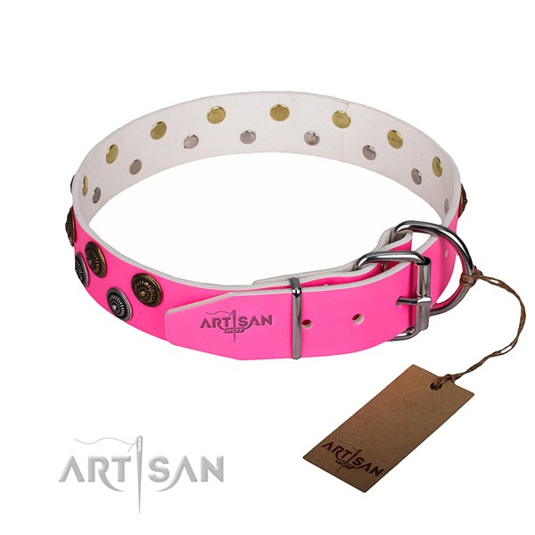 Comfy wearing embellished dog collar of finest quality full grain genuine leather