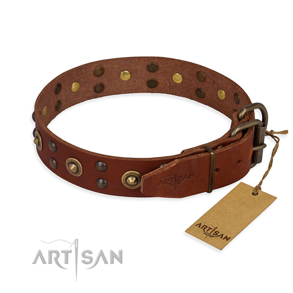 Durable hardware on full grain genuine leather collar for your beautiful four-legged friend